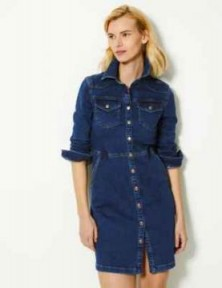 M&S COLLECTION Denim Mini Shirt Dress / stylish front button dresses / casual style / one of Holly's must-have pieces