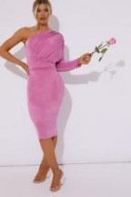 in the style DIAMONA PINK ONE SHOULDER ACETATE SLINKY MIDI DRESS