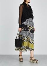 DIANE VON FURSTENBERG Darcie contrast-print silk midi skirt. MULTI PRINTS