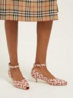 BURBERRY Dill logo-print leather pumps