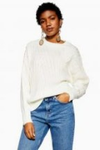 Topshop Directional Ribbed Jumper in Ivory | neutral crew neck