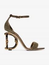 Dolce & Gabbana Gold-Tone Metallic 105 Logo Heel Sandals ~ statement heels ~ beautiful Italian footwear