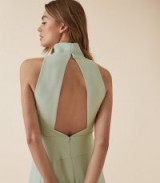 REISS DORIANA OPEN BACK FIT AND FLARE DRESS MINT ~ light-green cut-out dresses