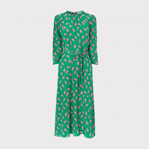 L.K. BENNETT DOROTHY GREEN SAIL PRINT SILK MIDI DRESS ~ floaty dresses