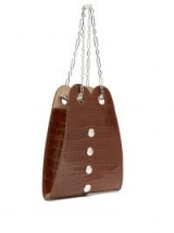 LEMAIRE Brown double crocodile-effect leather bag