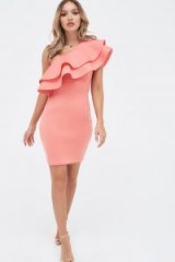 LAVISH ALICE double ruffle off shoulder scuba dress in papaya – dramatic party ruffles