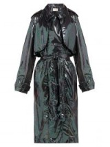 CHRISTOPHER KANE Double-breasted iridescent-chiffon trench coat in black ~ glossy coats