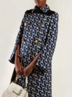 PRADA Double-breasted key-jacquard coat in navy ~ chic vintage style coats