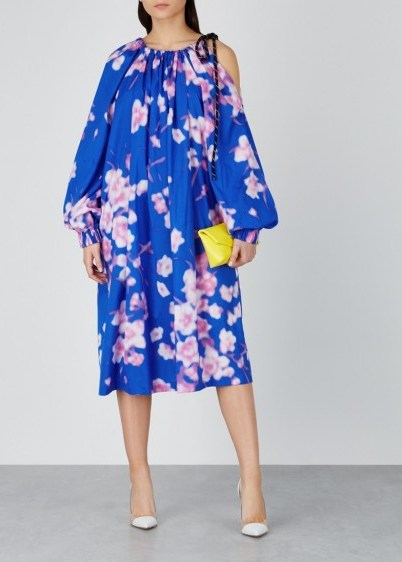 DRIES VAN NOTEN Durala floral-print cotton dress in blue and pink ~ balloon sleeve dresses - flipped