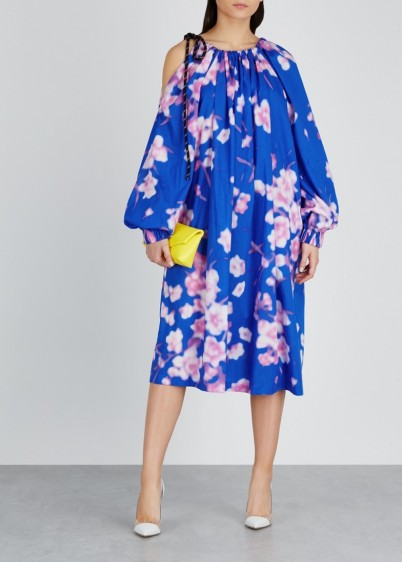 DRIES VAN NOTEN Durala floral-print cotton dress in blue and pink ~ balloon sleeve dresses