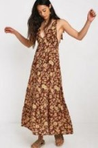 Faithfull The Brand Opatija Floral Print Chiffon Midi Dress Brown Multi / long boho dresses