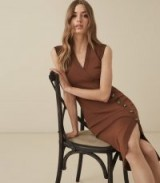 REISS ELENI KNITTED BODYCON DRESS CARAMEL ~ brown contemporary clothing