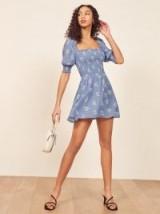REFORMATION Elle Dress in Verona / blue floral smocked mini