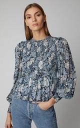 Ganni Elm Printed Georgette Peplum Top ~ smocked blouses