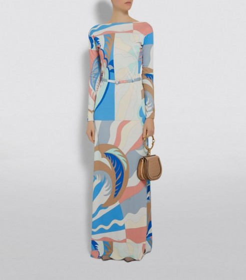 Emilio Pucci Belted Maxi Dress in Blue ~ chic retro look