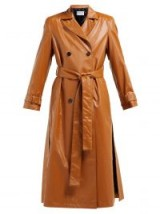 OSMAN Emme double-breasted brown faux-leather trench coat