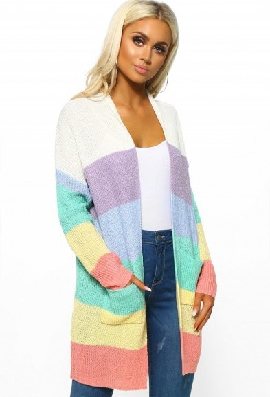 PINK BOUTIQUE Empire Of The Sun Rainbow Stripe Knitted Cardigan – COLOUR-BLOCK CARDIGANS - flipped