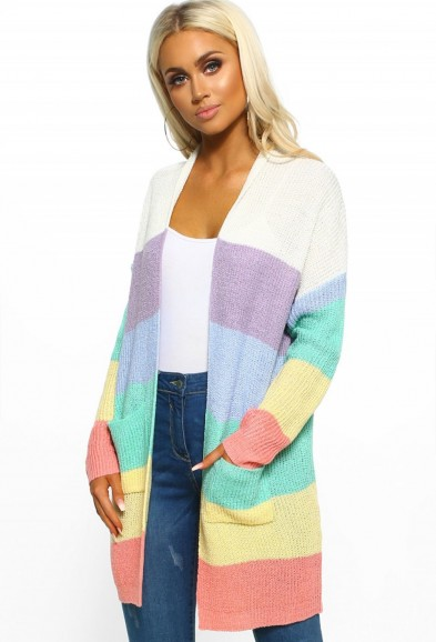 PINK BOUTIQUE Empire Of The Sun Rainbow Stripe Knitted Cardigan – COLOUR-BLOCK CARDIGANS