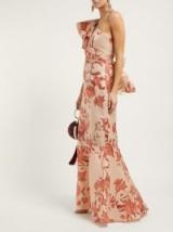 JOHANNA ORTIZ Encanto one-shoulder floral-print silk gown