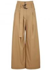 Jacqueline wide-leg camel cotton trousers