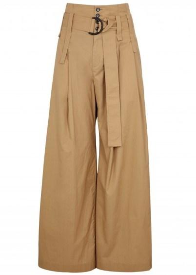 Jacqueline wide-leg camel cotton trousers - flipped