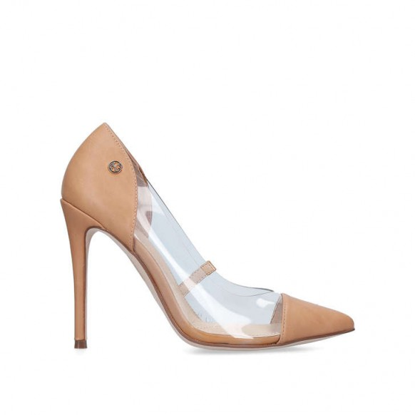 KG KURT GEIGER FAITH Nude Perspex Stiletto Heels ~ clear barely-there stiletto courts
