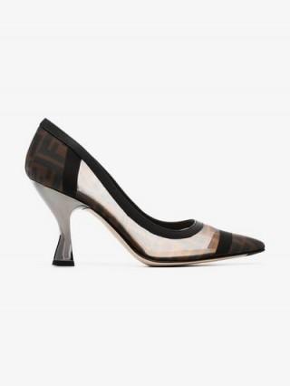 Fendi Colibri 85 Mesh Logo Pumps – angled heel court shoe