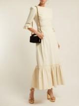 THE VAMPIRE'S WIFE Festival ruffle-trimmed velvet-corduroy dress | chic cord ruffled prairie style frock