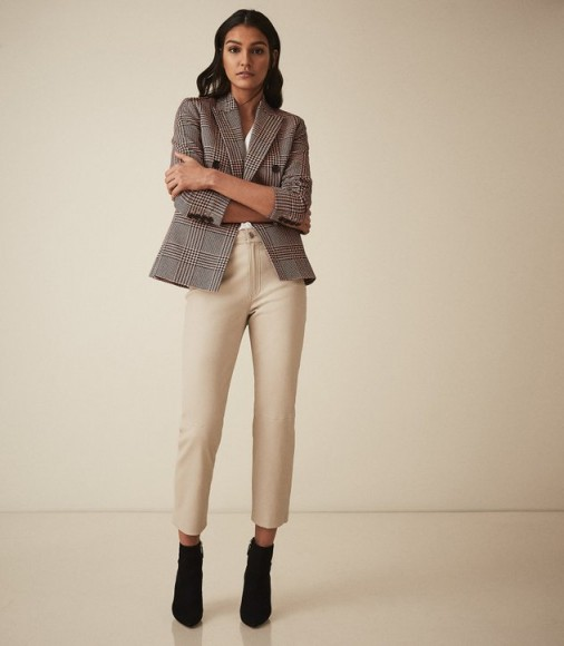 REISS FI STRAIGHT LEG LEATHER TROUSERS NEUTRAL ~ casual luxe