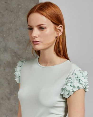 Ted Baker BLERE Floral applique sleeve T-shirt in mint – frilly sleeved tee