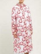 4 MONCLER SIMONE ROCHA Floral-embroidered PVC raincoat in pink ~ clear macs