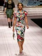 DOLCE & GABBANA Floral-print satin midi dress ~ beautiful Italian clothing ~ applique flower dresses