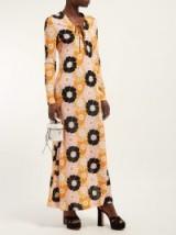 MIU MIU Floral-print side-slit maxi dress in pink ~ retro printed dresses