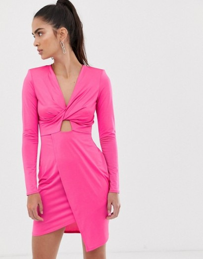 Flounce London wrap front satin mini dress in fuchsia ~ neon pink fashion
