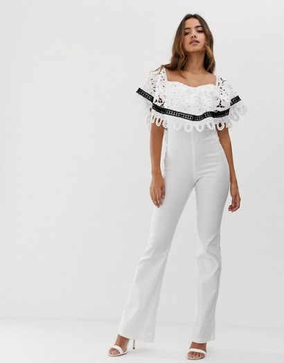 Forever U bardot jumpsuit with crochet lace trim in ivory ~ off the shoulder jumpsuits