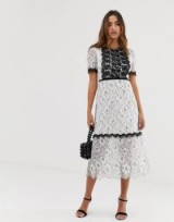 Forever U lace midi dress with contrast trim in mono ~ black and white floral party dresses