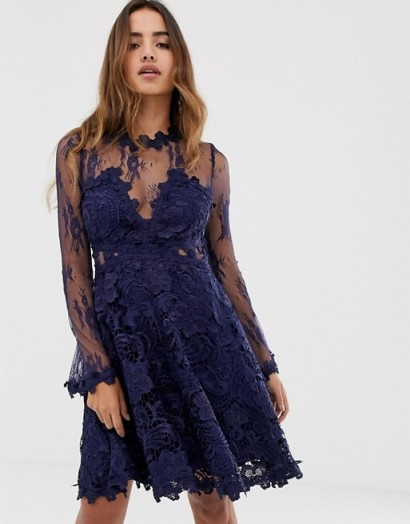 Forever U lace prom midi skater dress in navy ~ blue semi-sheer party dresses