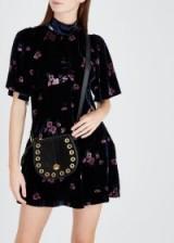 FREE PEOPLE Be My Baby navy velvet mini dress – high neck – flared sleeves