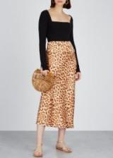 FREE PEOPLE Normani leopard-print midi skirt ~ tonal-brown skirts