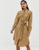 French Connection belted shirt dress in wet sand
