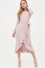 LAVISH ALICE frill hem wrap front shirt dress in pink