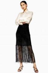 Topshop Boutique Fringe Knit Skirt in Black | semi sheer skirts