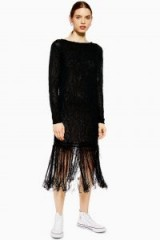 Topshop Boutique Fringe Knit Tunic Dress in Black | knitted fashion