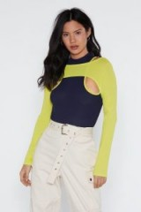NASTY GAL From the Top Overlay and Bodysuit in navy – sporty looking top