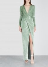 GALVAN Vera mint velvet gown – long luxe light-green dress