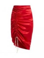 HILLIER BARTLEY Gathered red silk-satin pencil skirt ~ ruched skirts