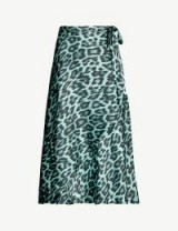 GHOST Jayne leopard-print satin wrap skirt in blue