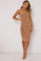 in the style GINY CAMEL RUCHED FRONT BANDEAU MIDI DRESS ~ strapless going out dresses