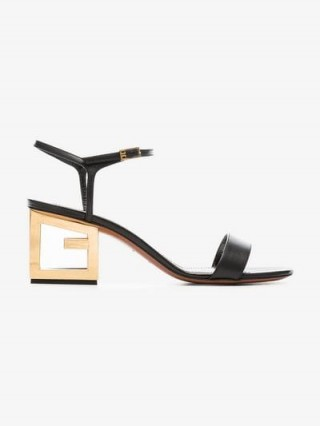 Givenchy Black 60 Triangle Cut-Out Heel Leather Sandals in Black ~ chic block heels