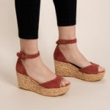 42 GOLD MINDIE PLATFORM WEDGE SANDAL in TOBACCO | braided wedges